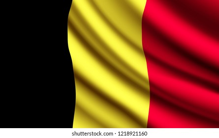 National flag of Belgium on wavy cotton fabric. Realistic vector illustration.