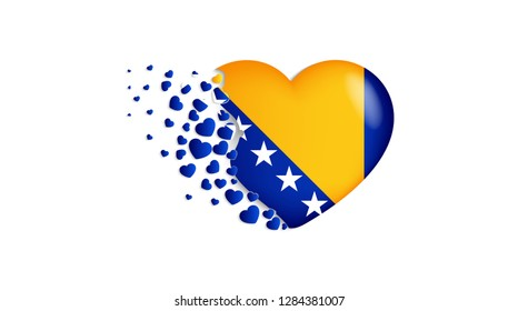 National flag of Bosnia and Herzegovina in heart illustration. With love to Bosnia and Herzegovina country. The national flag of Bosnia and Herzegovina fly out small hearts