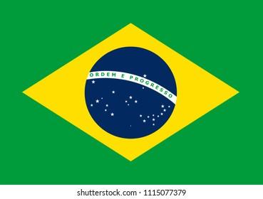 The national flag of Brasil. Vector pattern, banner of Brasil. Flat standard, design element for print, wallpaper, wrapping paper, websites. Vector illustration.