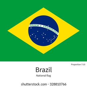 National flag of Brazil with correct proportions, element, colors for education books and official documentation