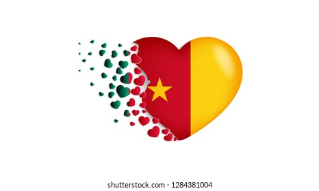 National flag of Cameroon in heart illustration. With love to Cameroon country. The national flag of Cameroon fly out small hearts