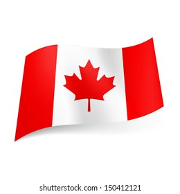 National flag of Canada: red and white vertical  stripes with maple leaf in centre.