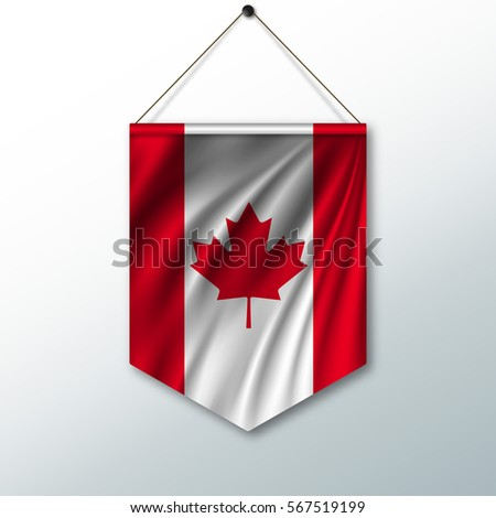 National Flag Canada Symbol State Pennant Stock Vector Royalty Free