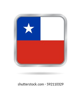 National flag of Chile. Shiny metallic gray square button with shadow.
