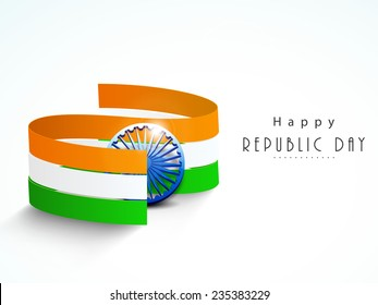 National flag color stripes with shiny Ashoka Wheel for Happy Indian Republic Day celebration concept.