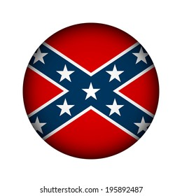 National flag of the Confederate States of America button - vector illustration.
