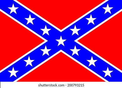 National flag of the Confederate States of America - vector illustration. Very bright colors.