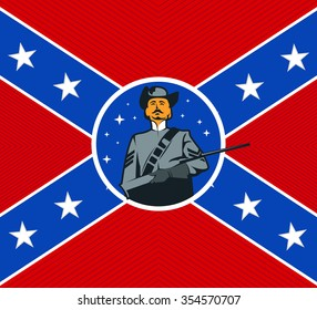 National flag of the Confederate States of America - vector illustration