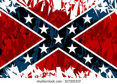 National flag of the Confederate States of America in grunge style. Vector illustration.