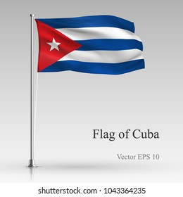 National flag of Cuba isolated on gray background. Realistic Cuban flag waving in the Wind. Wavy flag Stock Vector illustration