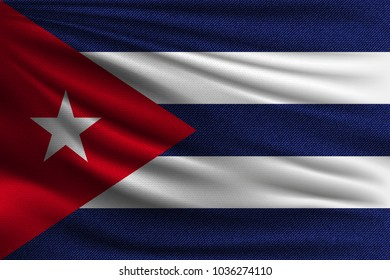 The national flag of Cuba. The symbol of the state on wavy cotton fabric. Realistic vector illustration.
