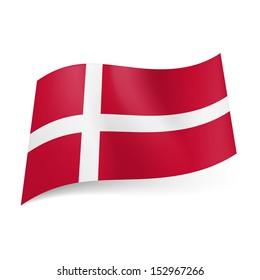 National flag of Denmark: white Scandinavian cross on red background.