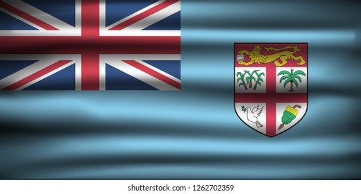 National Flag of Fiji FJ. Front view, official colors and correct proportion. Realistic vector illustration.
