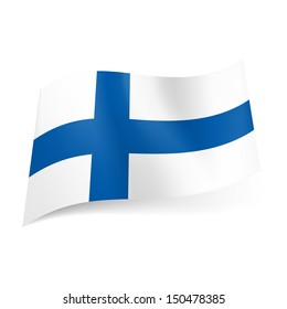 National flag of Finland: blue cross on white background.