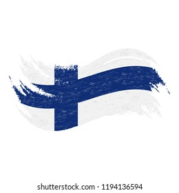 National Flag Of Finland, Designed Using Brush Strokes,Isolated On A White Background. Vector Illustration. Use For Brochures, Printed Materials, Logos, Independence Day.