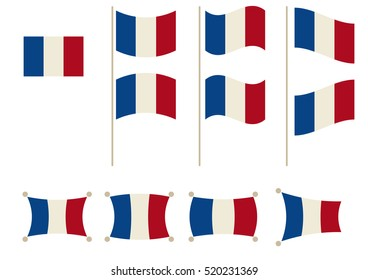 National Flag of France in different shapes