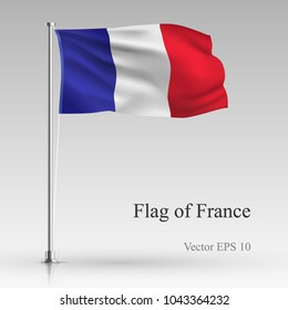 National flag of France isolated on gray background. Realistic French flag waving in the Wind. Wavy flag Stock Vector illustration