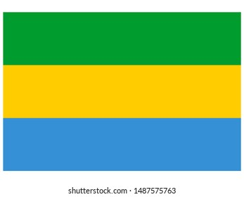 National flag of Gabonese Republic. original colors and proportion. Simply vector illustration eps10, from countries flag set.