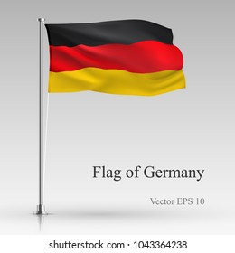 National flag of Germany isolated on gray background. Realistic German flag waving in the Wind. Wavy flag Stock Vector illustration