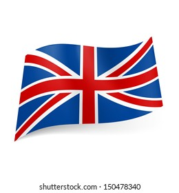 National flag of Great Britain, called Union Jack. Blue, red and white colored banner.