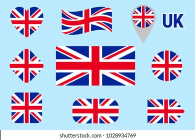 National flag of Great Britain collection. Vector The United Kingdom flags set. Flat isolated icons. Traditional colors. Web, sports, travel, school geographic, patriotic, cartographic design elements