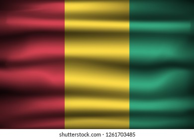 National Flag of Guinea GN. Front view, official colors and correct proportion. Realistic vector illustration.