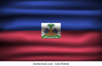 National Flag of Haiti HT. Front view, official colors and correct proportion. Realistic vector illustration.