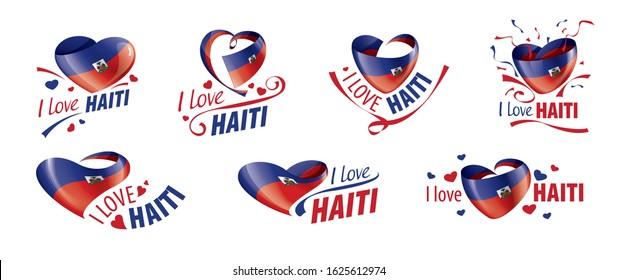 National flag of the Haiti in the shape of a heart and the inscription I love Haiti. Vector illustration
