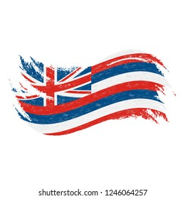 National Flag Of Hawaii, Designed Using Brush Strokes Isolated On A White Background. Vector Illustration. Use For Brochures, Printed Materials, Logos, Independence Day.