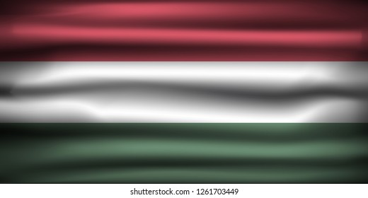 National Flag of Hungary HU. Front view, official colors and correct proportion. Realistic vector illustration.