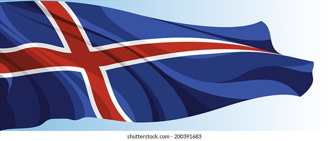 The national flag of the Iceland on a background of blue sky