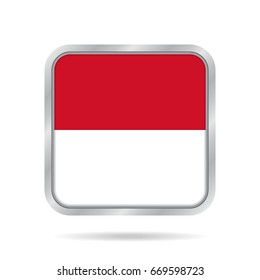 National flag of Indonesia. Shiny metallic gray square button with shadow.