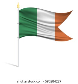 The national flag of Ireland on a pole. The wavy fabric. The sign and symbol of the country. Realistic vector.
