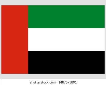 National flag of Islamic United Arab Emirates, UAE, Dubai, Abu Dhabi original color and proportion. Simply vector illustration eps10, from world countries flag set.
