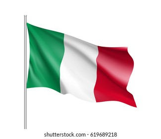 National flag of Italy country. Italian patriotic sign in official colors: green, white and red. Nation symbol of Sounhern European state. Vector illustration