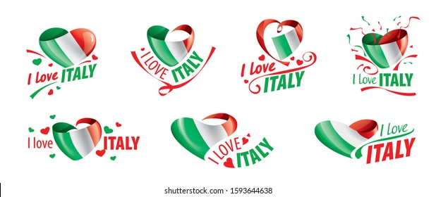 The national flag of the Italy and the inscription I love Italy. Vector illustration