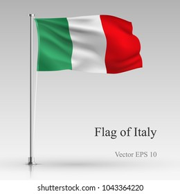 National flag of Italy isolated on gray background. Realistic Italian flag waving in the Wind. Wavy flag Stock Vector illustration