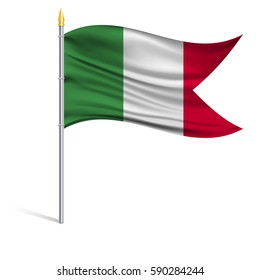 The national flag of Italy on a pole. The wavy fabric. The sign and symbol of the country. Realistic vector.