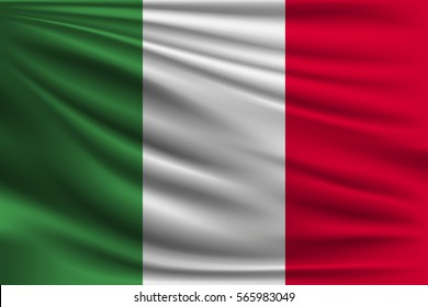 The national flag of Italy. The symbol of the state on wavy silk fabric. Realistic vector illustration.