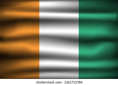 National Flag of Ivory Coast Côte D'ivoire CI. Front view, official colors and correct proportion. Realistic vector illustration.
