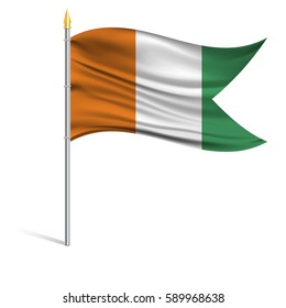 The national flag of Ivory coast on a pole. The wavy fabric. The sign and symbol of the country. Realistic vector.