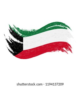 National Flag Of Kuwait, Designed Using Brush Strokes,Isolated On A White Background. Vector Illustration. Use For Brochures, Printed Materials, Logos, Independence Day.