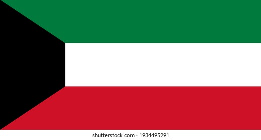 national flag of Kuwait  in the original colours and proportions(1:2)