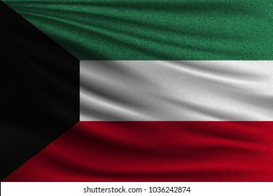 The national flag of Kuwait. The symbol of the state on wavy cotton fabric. Realistic vector illustration.