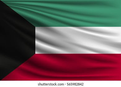 The national flag of Kuwait. The symbol of the state on wavy silk fabric. Realistic vector illustration.
