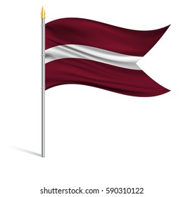 The national flag of Latvia on a pole. The wavy fabric. The sign and symbol of the country. Realistic vector.