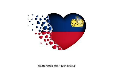 National flag of Liechtenstein in heart illustration. With love to Liechtenstein country. The national flag of Liechtenstein fly out small hearts