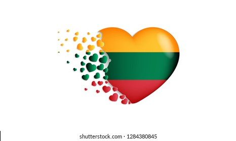 National flag of Lithuania in heart illustration. With love to Lithuania country. The national flag of Lithuania fly out small hearts