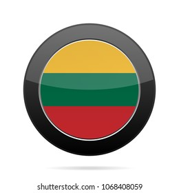 National flag of Lithuania. Shiny black round button with shadow.