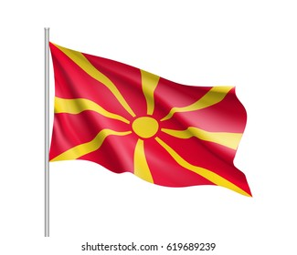 National flag of Macedonia country. Patriotic macedonian symbol in official colors. Illustration of Sounhern European country flag. Vector icon isolated